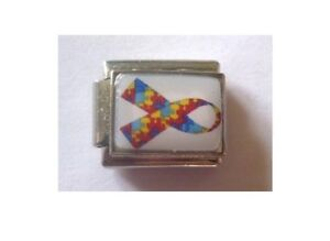 9mm Italian Charm P1 Autism Autistic Awareness Ribbon Fits Classic Size Bracelet