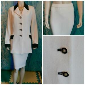 St John Collection Knit Cream Jacket Skirt L 12 14 2pc Suit Black Trims Collared