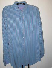 Bugatchi Mens Long Sleeve Dress Shirt Blue Multi-Colored Stripe Sz XXL NEW  $179