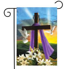 """Easter Sunrise Religious Garden Flag Cross Doves Lilies 12.5"""" x 18"""""""