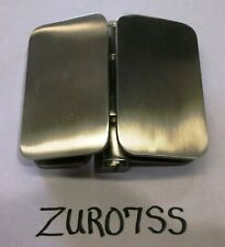 ZUR07SS Glass Shower Hinges, Stainless, Satin , SET of 2, C.R.Lawrence