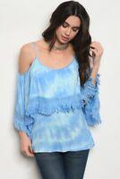 Misses Blue Tie Dye Cold Shoulder Fringe Accent Jersey Knit Top SZ Medium NWT