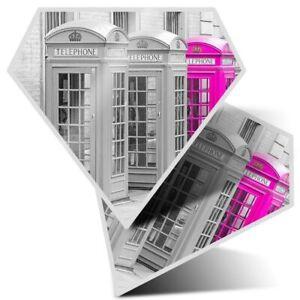 2 x Diamond Stickers 10 cm  - Cute Pink Telephone Box England Girls  #8596