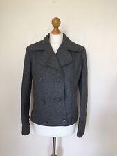 Bershka Wool Blend Double Breasted Bomber Jacket Coat Winter Autumn Grey Large