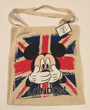 PRIMARK London Mickey Mouse Tote Bag Union Jack Cotton Cloth Disney New Flag