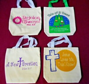 """CANVAS GIFT BAG 8"""" X 8"""" X 2"""" WITH CLOTH HANDLE HANDMADE RELIGIOUS THEME LOT OF 4"""