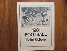 1981 Beloit College Football Media Guide(46 Signed/with ED  DeGEORGE/DAN HUBBARD