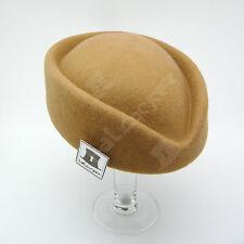 VINTAGE Wool Felt Women Fascinator Ladies Pillbox Hat Wedding NEW | 56cm | Beige