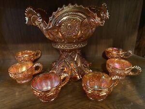 Vintage Imperial Carnival Punch Bowl Set Marigold