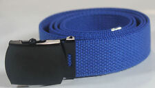 "NEW ADJUSTABLE 44"" INCH COBALT BLUE CANVAS MILITARY GOLF WEB BELT BLACK BUCKLE"