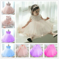 Infant Baby Girl Birthday Wedding Pageant Party Princess Lace Tutu bowknot Dress