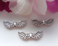 30 Metal Beads Angel Wings Upside Angel Wings Antique Silver 22x7mm