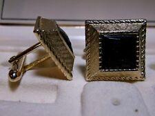 Vintage Sabre by Swank Gold-Tone Square Black Faceted Gem Cufflinks Original Box