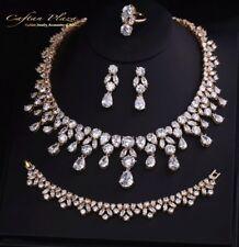 4 Tlg. Zirkonia AAA+ Schmuckset Ohrringe Ring Collier Bracelet XL Gold Weiss
