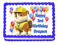 PAW PATROL RUBBLE edible party cake topper decoration frosting sheet image