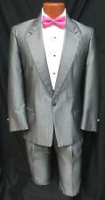 Men's Silver Grey Striped Tuxedo with Pants Retro Vintage Costume Halloween 43R