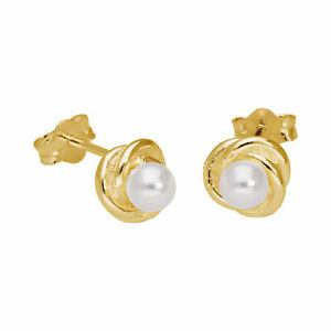 Gold Plated Sterling Silver Knot Pearl Stud Earrings