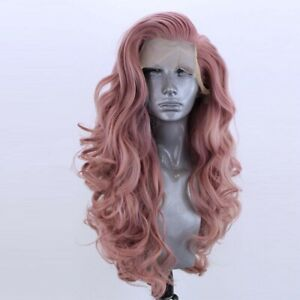 24inch Synthetic hair Lace front wigs  Wavy Long Smoke Pink Women