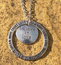 CREDERE nell'amore sogno albero genealogico Collana con Pendente parola ispiratrice gioielli