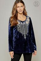 PLUS SIZE ANDREE BY UNIT EMBROIDERED LONG SLEEVE VELVET BOHO TUNIC TOP 1X 2X 3X