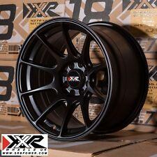 """XXR 527 15"""" x 8.25J  ET0 4x100 4x108 FLAT BLACK SET OF 4 WHEELS"""