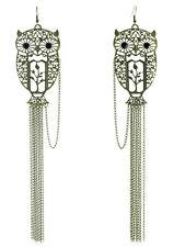 C1136 hollow owl long chain black bead cute tree women dangle hook big earrings