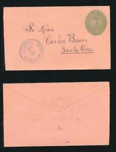 SALVADOR 1891 POSTAL STATIONERY ENVELOPE VOLCANO 10c USED to SANTA ANA