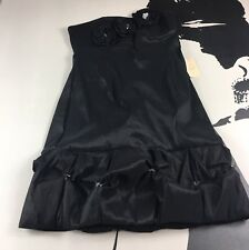 New Forever 21 Black Strapless Party Cocktail Dress Prom Floral Accents Sz Large