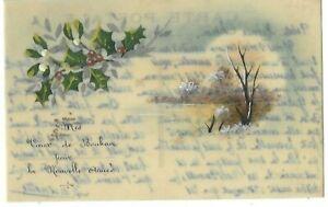 Belle CPA carte postale ancienne celluloïd gui houx vœux paysage d'hiver
