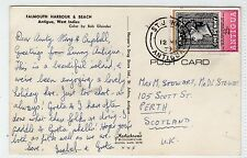 FALMOUTH HARBOUR & BEACH: Antigua postcard sent to Scotland (C24245)