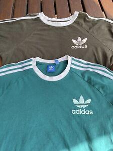 2 x Adidas Originals Vintage T-Shirts Size Large Retro Rare 3 Strips Casuals