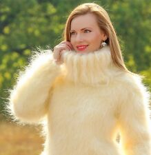 ♕ SUPERTANYA ♕ IVORY Hand Knit Mohair Sweater FUZZY Turtleneck Unisex Pullover