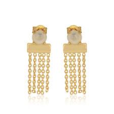 Ethiopian Opal Gemstone Bar Design 18k Gold Plated 925 Silver Chain Earrings