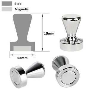 4 x SMALL Metal PUSH PINS NEODYMIUM MAGNETS ~ Noticeboard Fridge Board Skittles