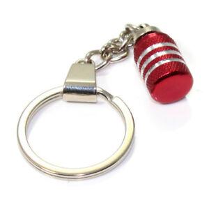 3D Red Aluminum Valve Cap Part Key Chain Ring Fob -for car, truck, bike keys