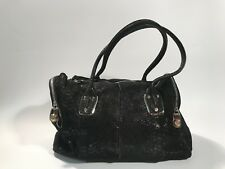 B. Makowsky Whitney Leather Satchel Shimmer Snake Black Handbag Purse