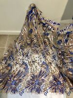 """Gold Mesh W/Multi Embroidered Sequins Lace  Fabric 50"""" Width 1 Yard"""