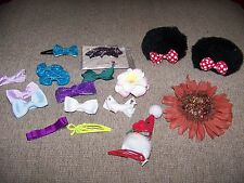 GIRLS HAIR BARETTES LOT OF 18 MINNIE MOUSE FLOWERS GLITTER BOWS AND MORE