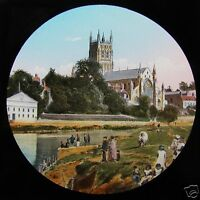 HAND COLOURED Glass Magic Lantern Slide WORCESTER CATHEDRAL FROM THE RIVER C1890