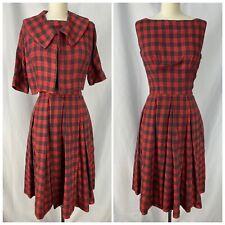 Vintage 1950s 2 Piece Red Plaid Dress W/ Cropped Jacket 50s