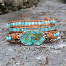 Boho Handmade Silver Copper Turquoise 5 Rows Leather Wrap Bracelet Unisex Beach