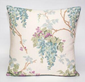 "New Laura Ashley Fabric Cushion Cover 16"" Wisteria Duck Egg pistachio Floral"