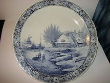 LARGE DELFT BLUE PORCELAIN WALL HANGING PLATE WINTER SCENE MADE FOR ROYAL SPIHIN
