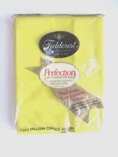 PAIR Lemon Yellow Standard Pillowcases by Fieldcrest Unused Orginal Pkg No Iron