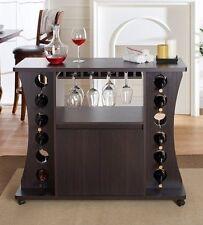 Mini Bar Buffet Server Table Wine Rack Portable Storage Space Saving Cabinet