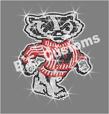 "Rhinestone Transfer ""Wisconsin Badgers"" Hotfix , Iron On, Bling"
