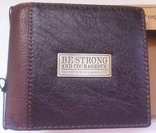 NEW Men's Christian Strong Courageous GENUINE LEATHER BROWN Bi-fold ID WALLET