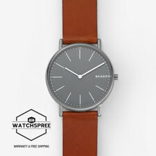 Skagen Men's Signatur Slim Titanium and Cognac Leather Watch SKW6429