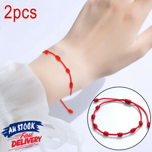 2pcs Bracelet Protection Rope Kabbalah Amulet Hot Gifts Lucky Red String 7 Knots