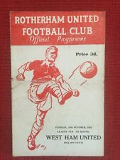 Rare Rotherham United v West Ham Utd Programme, League Cup, 1962